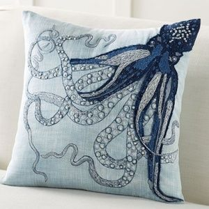 2 Pottery Barn Blue Octopus Tentacle Pillow Covers